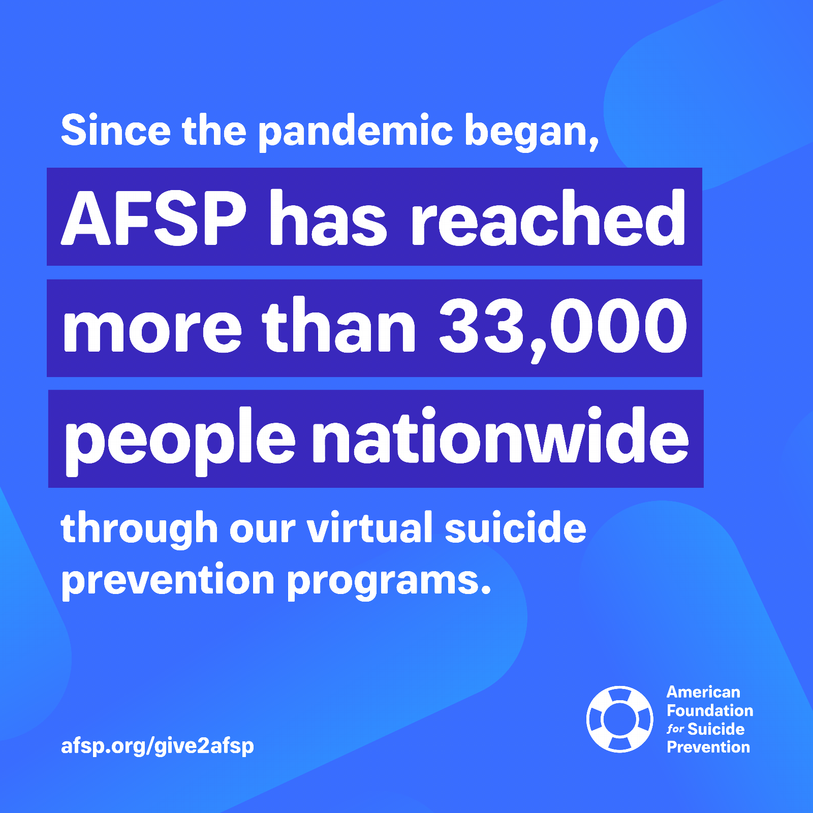 Since the pandemic began, AFSP has reached more than 33,000 people nationwide through our virtual suicide prevention programs.