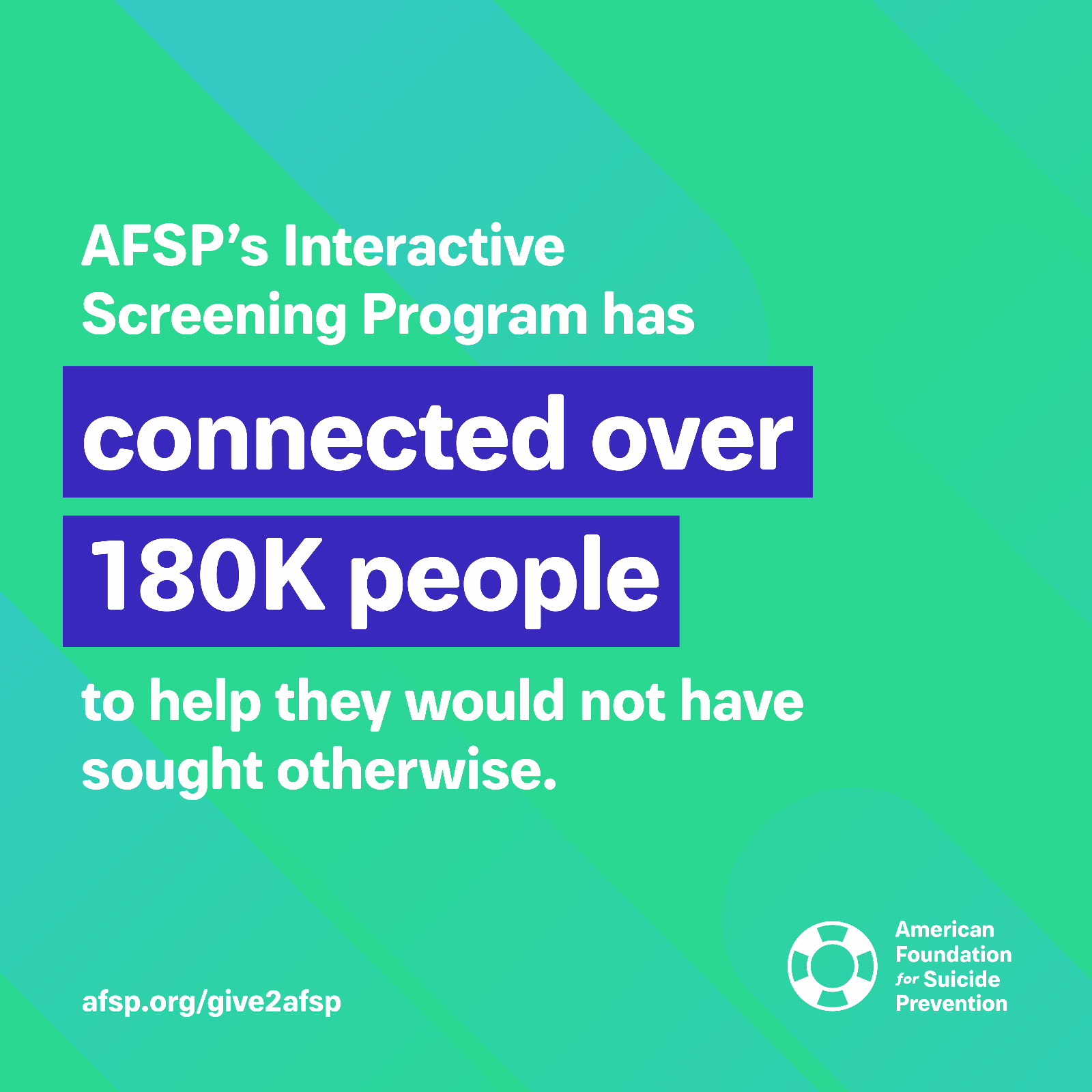 AFSP's Interactive Screen Program has connected over 180k people to help they would not have sought otherwise.