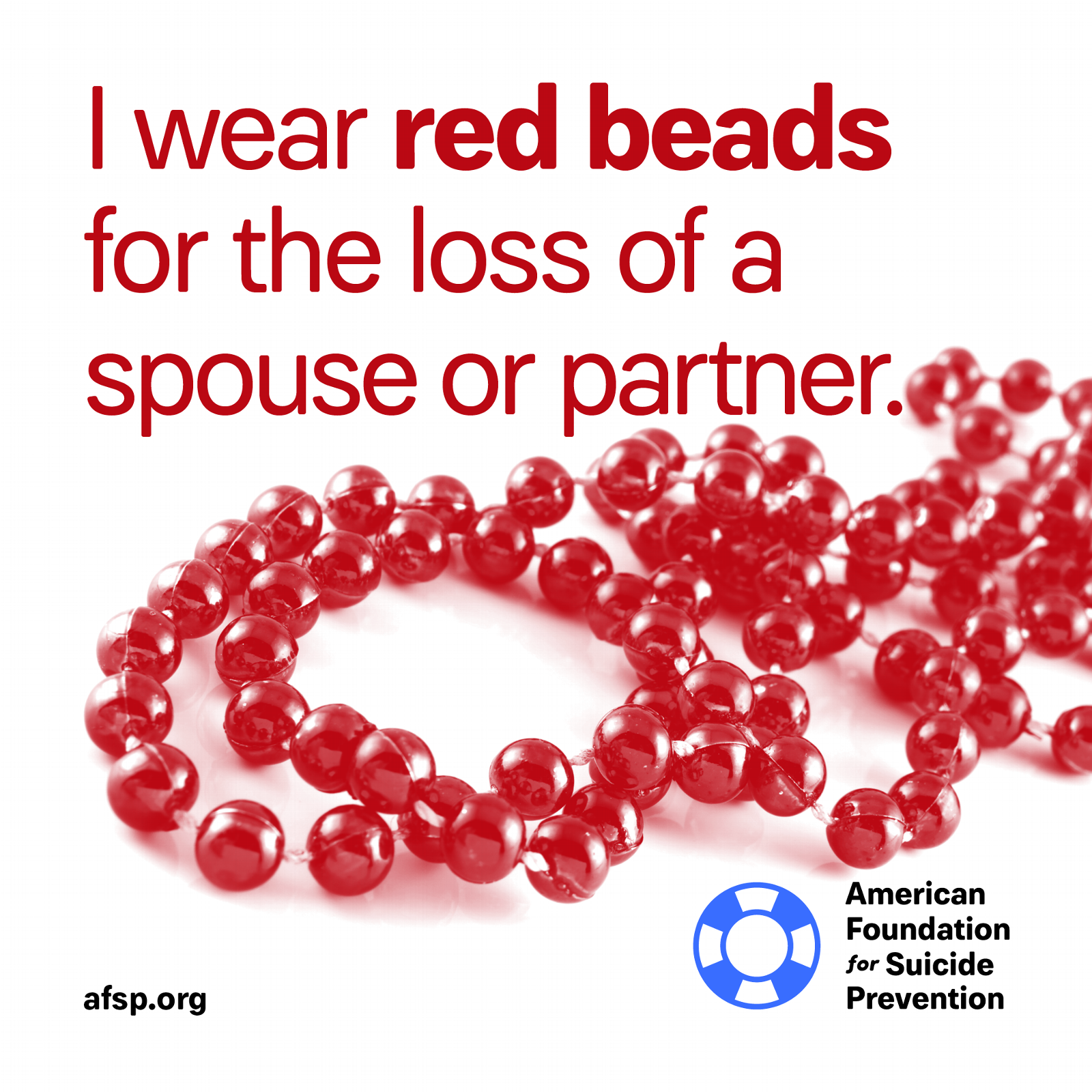 Red beads for the loss of a spouse or partner