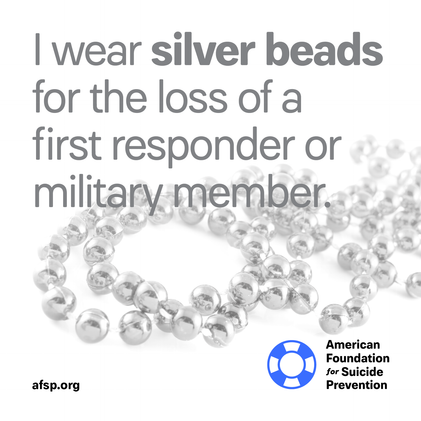 Silver beads for the loss of a first responder or military member