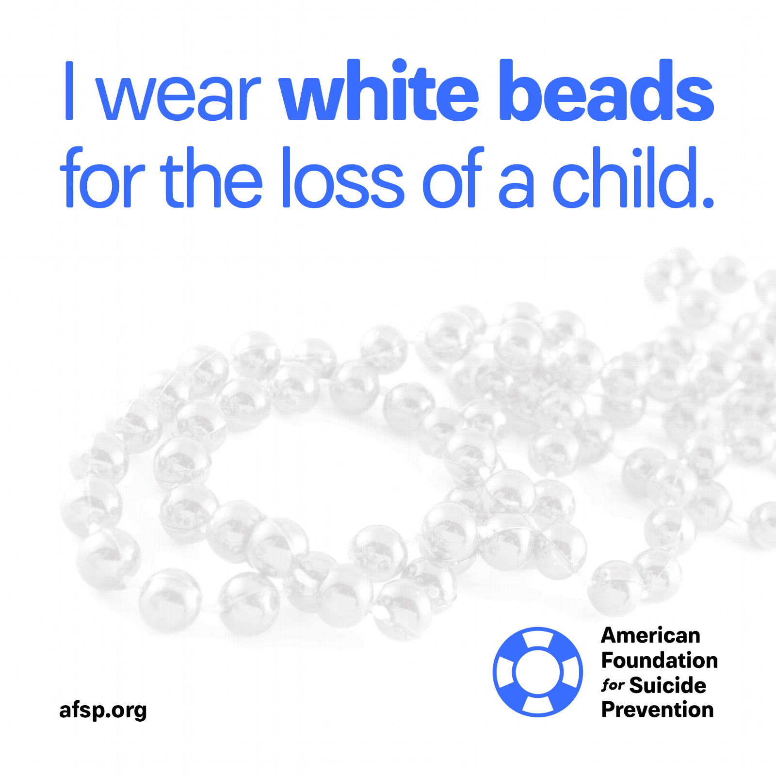 White beads for the loss of a child