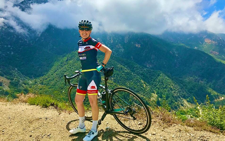 Elaine Gronberg on a mountain bike ride