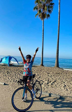 Elaine Fero Gronberg on her bike ride for the 2020 virtual Lobo Cancer Challenge