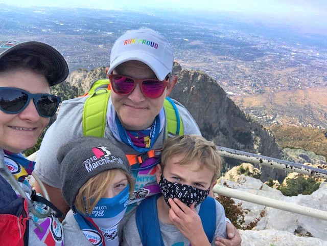 Elyse Eckart and family at the top of the Crest