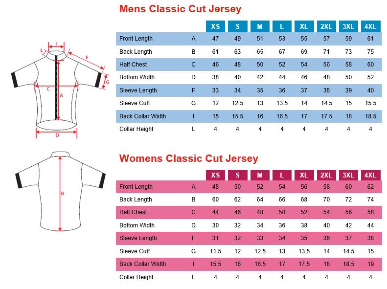 Classic Cut Jersey - Sizing Chart