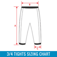 Womens 3/4 Tights Sizing Chart