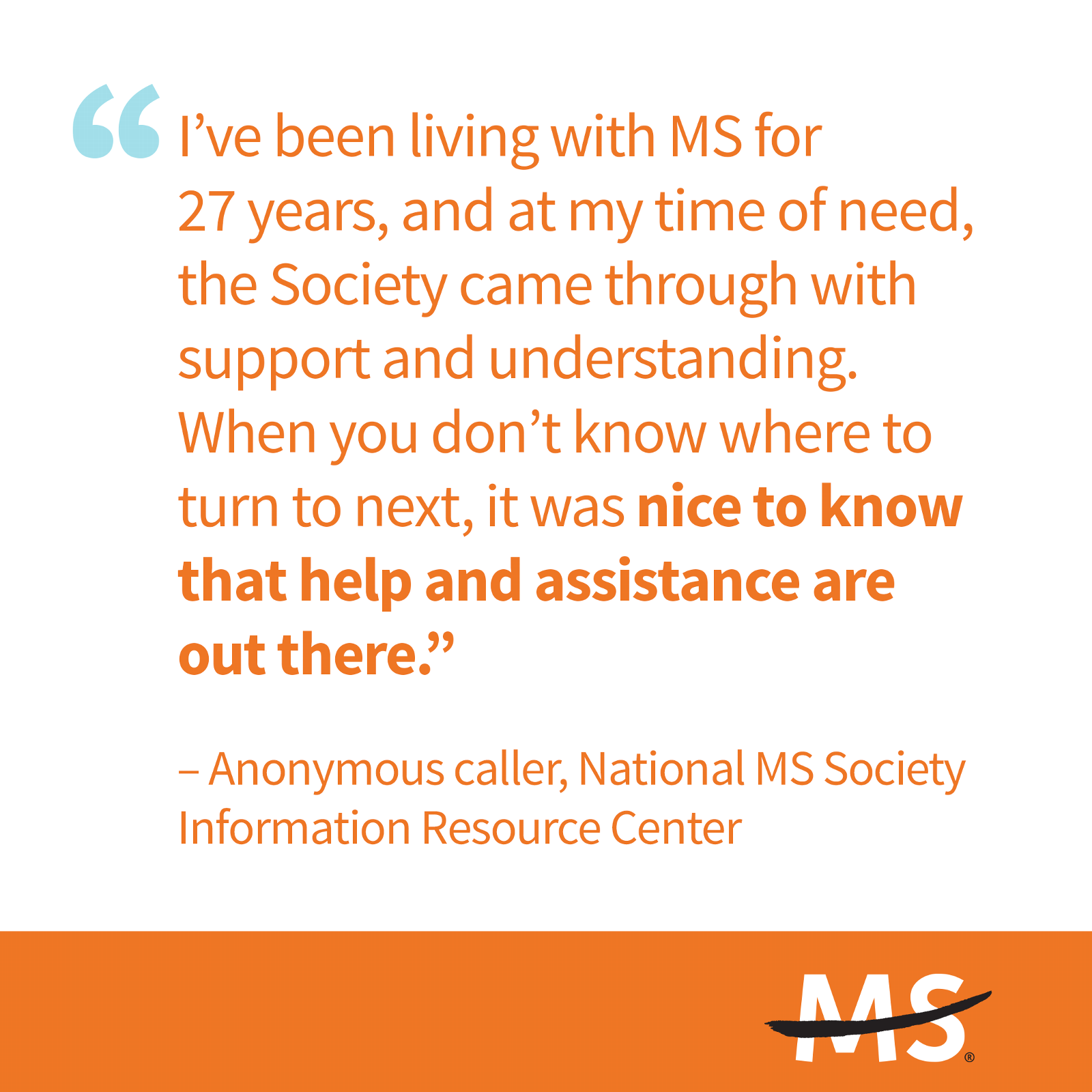 Quote from person living with MS for 27 years