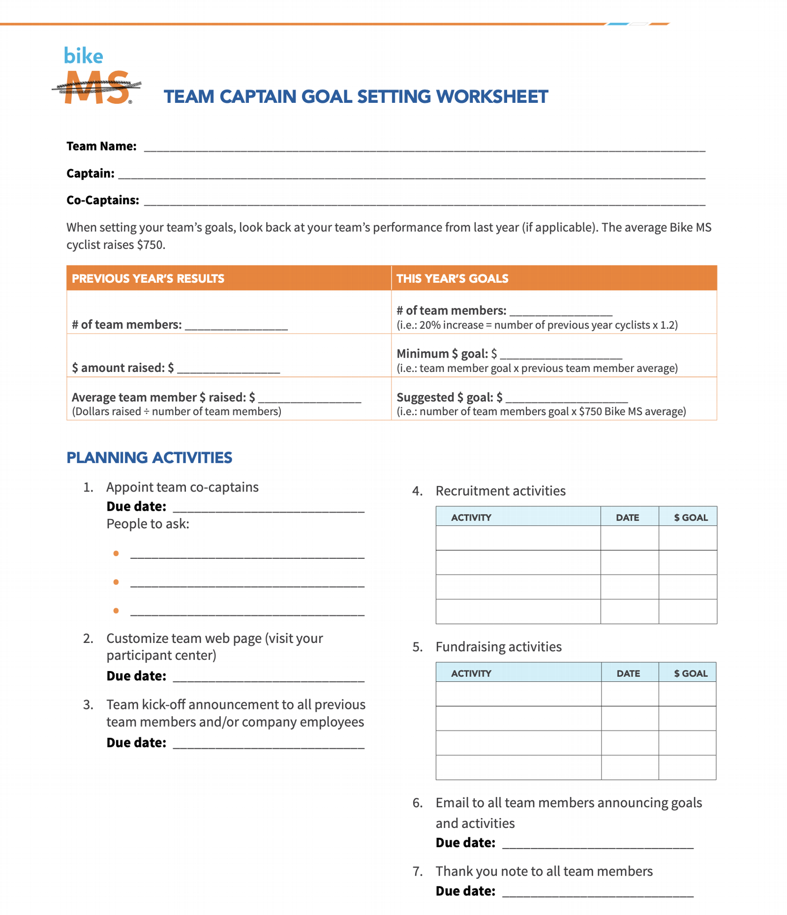 Team captain goal setting worksheet