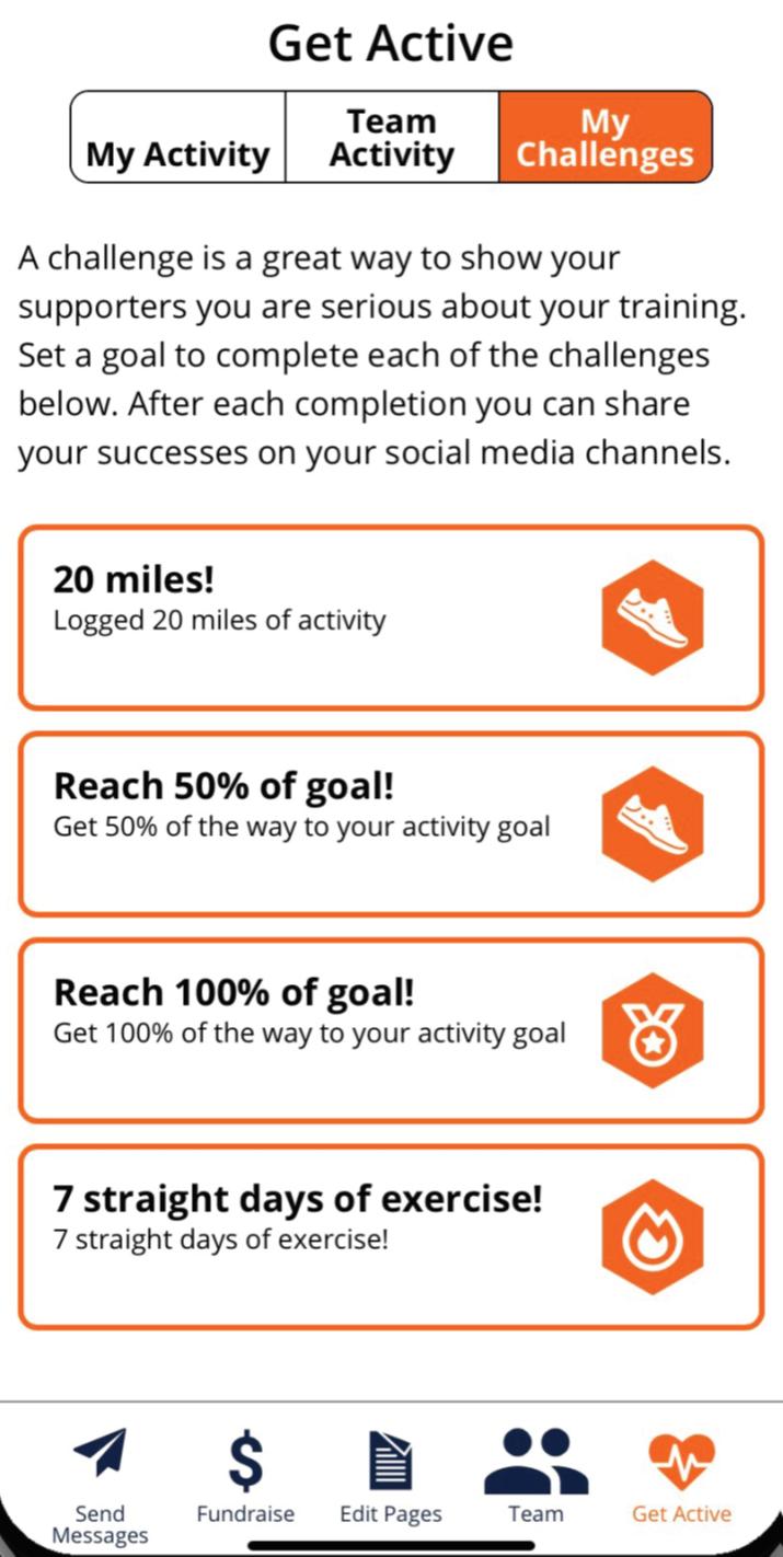 Screenshot of the app challenges