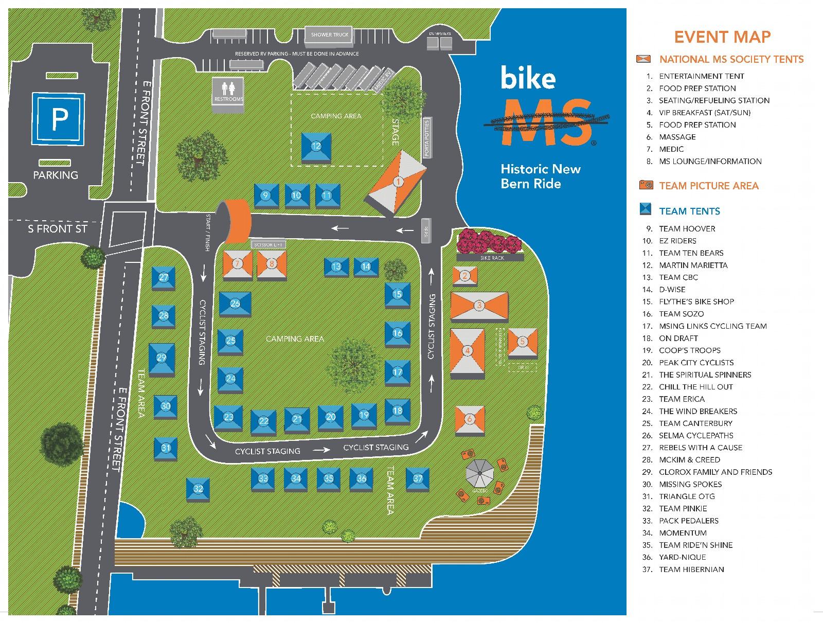 Bike MS: Historic New Bern Ride 2021 Team Village Map