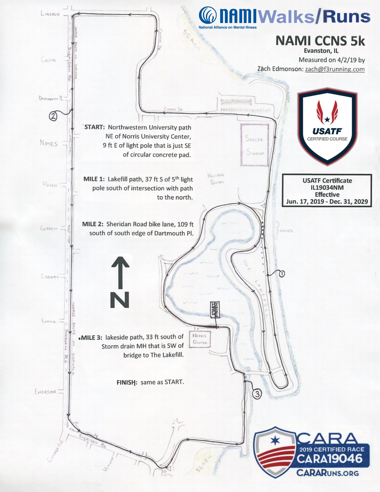 NAMI 5K RUN/WALK MAP CHICAGO