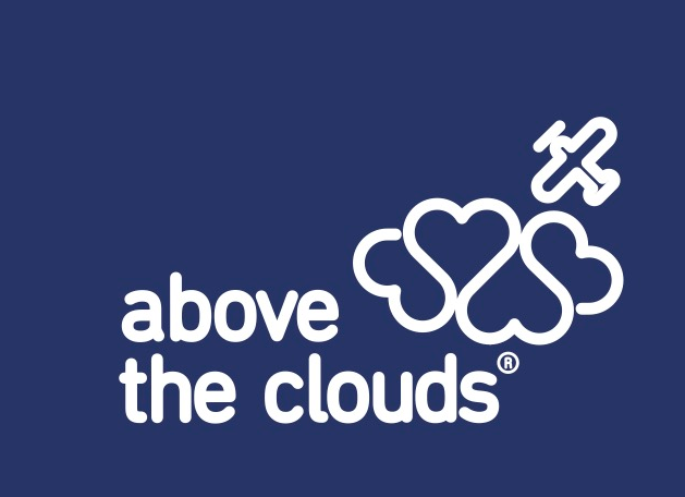 above the clouds logo hearts clouds airplane