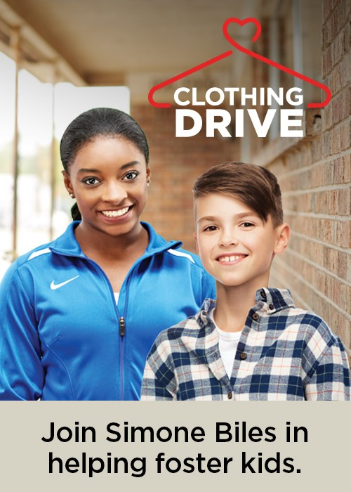 Mattress Firm Foster Kids Clothing Drive Simone Biles Spokesperson