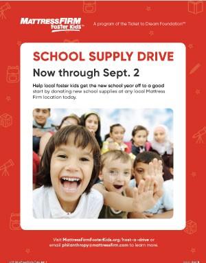 Foster Kids School Supply Drive Poster