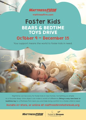 Foster Kids Bears and Bedtime Toys Drive Poster