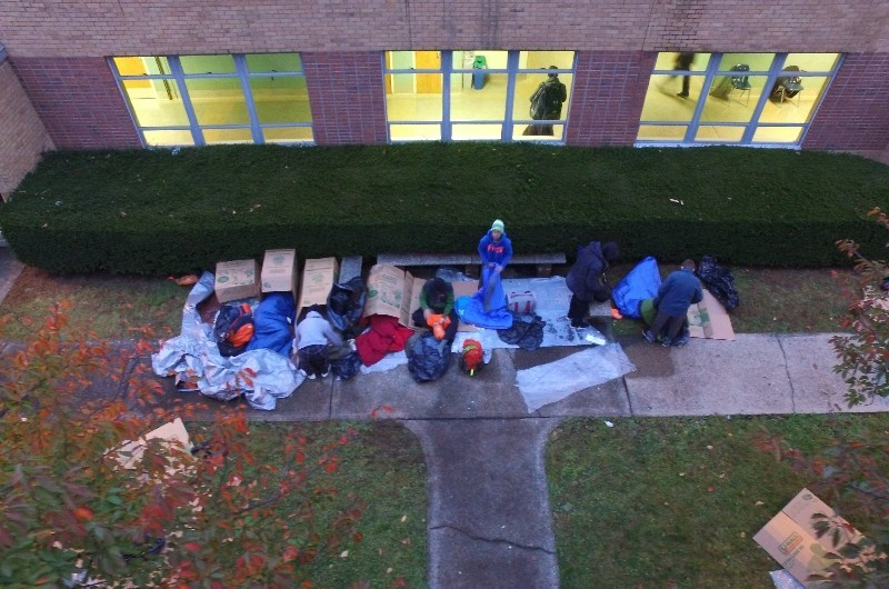 Students slept out in our courtyard to brave the cold and rain on Nov. 7th, 2017.