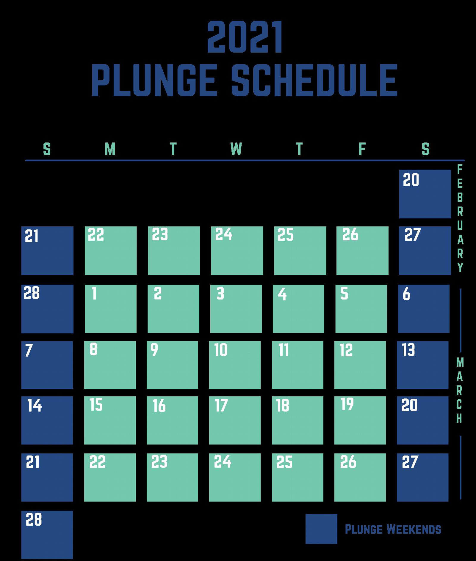 2021 Polar Plunge Calendar Schedule