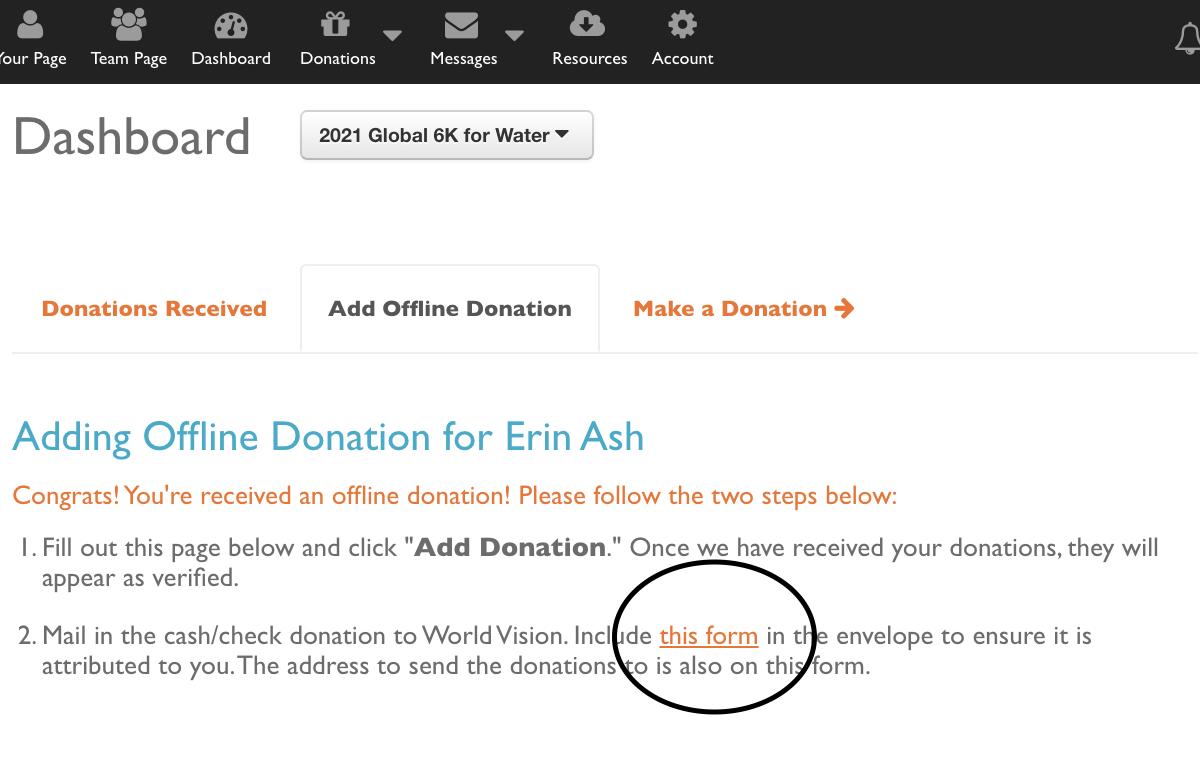 Screenshot of Donation Page